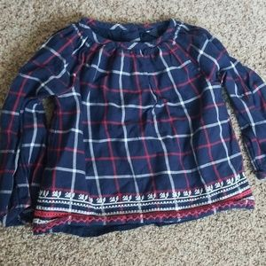 Gap kids plaid embroidered blouse
